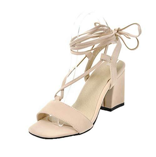 Agoolar Beige Women Gmxlb009647 vestito Heel Sandalo smerigliato Mid Open Toe zzaxTwrq