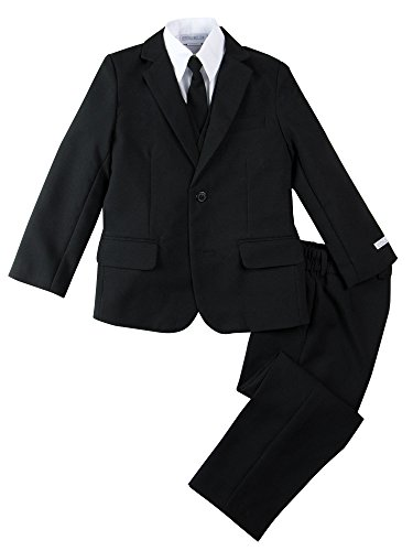 Spring Notion Boys' Modern Fit Black Dress Suit Set 10]()