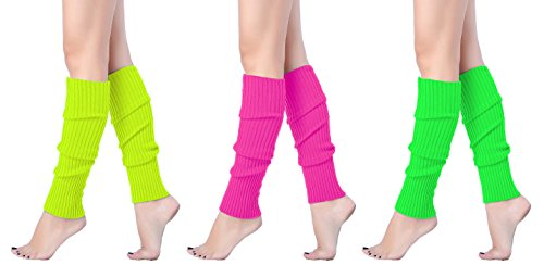 V28 Women Juniors 80s Eighty's Ribbed Leg Warmers for Party Sports, (3 Pack C)]()