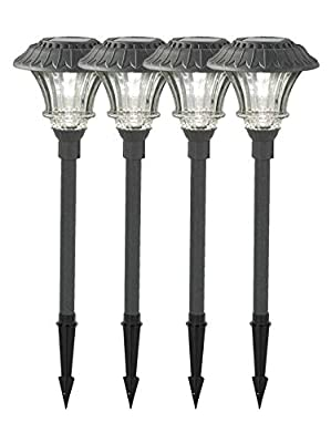 Set of 4 Solar Garden Path Lights, Glass and Powder Coated Cast Aluminum Metal, 6 Bright LEDs per Light 50 Lumens Output per LED, Outdoor All Weather - 6 Diam. x 23 H - Black