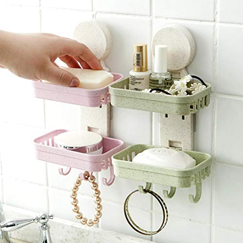 - Hot Sale!DEESEE(TM)Bathroom Shower Soap Box Dish Storage Plate Tray Holder Case Soap Holder Double (Green)