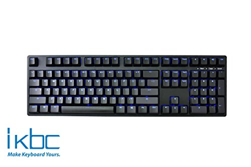 iKBC TD108 Blue Backlit LED Mechanical Keyboard with Cherry MX Brown Switch for Windows/Mac, Full Size Computer Keyboards, Black Case, Black PBT Doubleshot 108 Keycaps, ASIN/US QWERTY