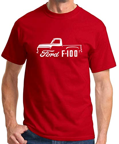 1953-56 Ford F-100 Pickup Truck Classic Outline Design Tshirt 2XL red
