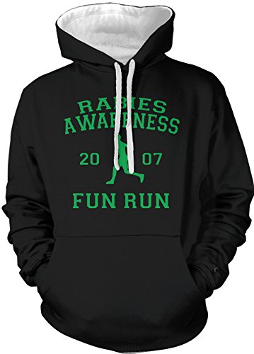 Amdesco Men's The Office Rabies Awareness Fun Run 2007 Hooded Sweatshirt, Black White -