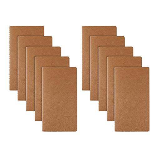 RIANCY Brown Soft Cover Journal Pack,Lined Journal Set,Ruled Journal Field Note Book Daily Notepad Writing Notebook - H5 Size - 210 mm x 110 mm - 60 Pages/ 30 Sheets (Lines 10 Pack)