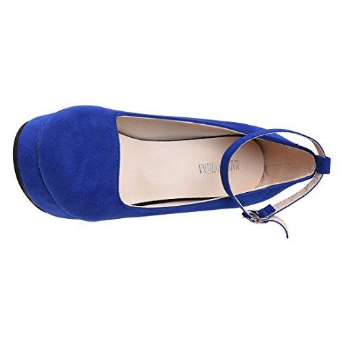Haut Plate Boucle Aiguille forme Daim De De De Pompes r De À Femmes Sangle Des Toogoo Talon Simili Chaussures Cheville En De 65x0qF4w
