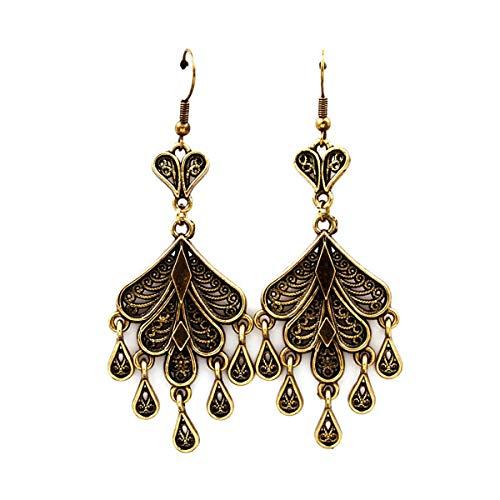Antiqued Gold Teardrop Chandelier Earrings