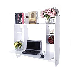 TimmyHouse Floating Wall Mount Computer Desk Table Desk W/Storage Shelves Home Office White