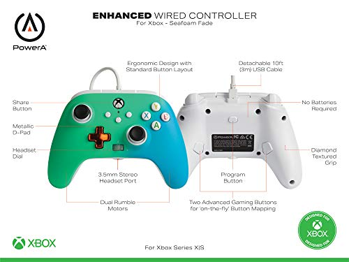 PowerA Enhanced Wired Controller for Xbox – Seafoam Fade, Gamepad, Wired Video Game Controller, Gaming Controller, Xbox Series X|S, Xbox One – Xbox Series X (Only at Amazon) 41UuAGbXTqL