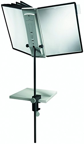 Durable Sherpa Desk Clamp Display Unit Adjustable with 10 Panels A4 Black Ref 5818/00 by OfficeMarket
