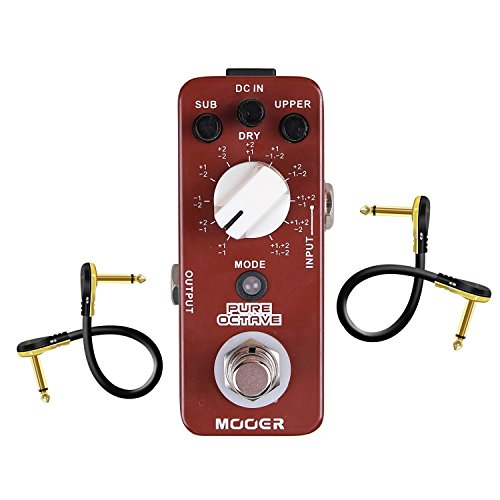 Mooer MOC1 Pure Octave Guitar Single Effect With 2 Getaria Pedal Cables ()