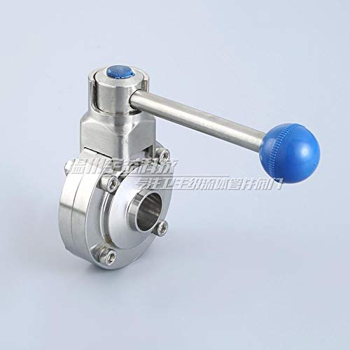 Maslin 1'' 25mm Sanitary Stainless Steel Tri Clamp Butterfly Valve - Pull Trigger Manual Welder Butterfly Valve D61 - (Thread Specification: 1-1/4'')