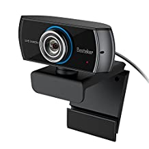 1536P Full HD Webcam, Besteker 1080P Wide Angle Camera with Microphones, Widescreen Video Calling Recording with Facial-Enhancement Technology for Desktop, Laptop, Mac