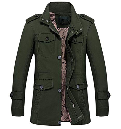 - Fseason-Men Casual Business Plus Size Stand Collar Trench Coat Outwear Army Green 4XL