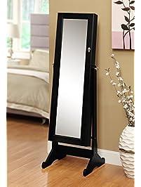Premium Mirror Jewelry Cabinet   Modern Storage Organizer Armoire With Stand