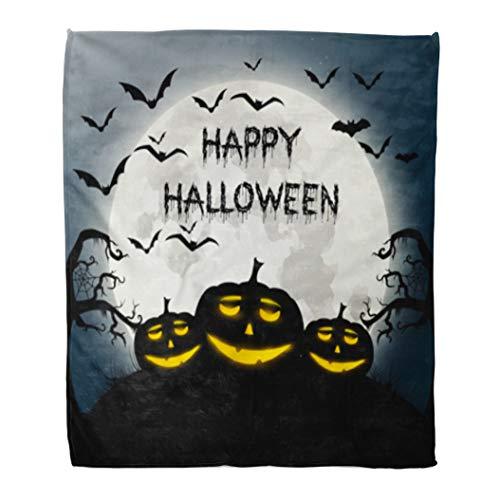 Golee Throw Blanket Text of Happy Halloween Autumn Bat Black Cartoon Celebration Disco 50x60 Inches Warm Fuzzy Soft Blanket for Bed Sofa -