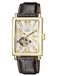 Gevril Men's 'Avenue of Americas' Automatic Gold-Tone and Leather Casual Watch, Color:Brown (Model: 5174)