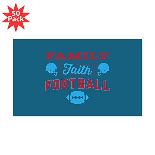 CafePress - Family Faith Football Bl - Sticker (Rectangle 50 pk) by CafePress