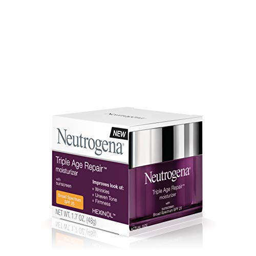 41UuCR8ga2L - Neutrogena Triple Age Repair Anti-Aging Face Moisturizer with SPF 25 Sunscreen & Vitamin C, Dark Spot Remover & Firming Face & Neck Cream with Glycerin & Shea Butter, 1.7 oz
