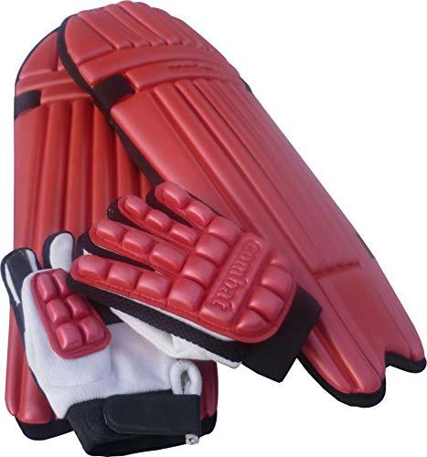 LAEMA Junior Cricket Batting KIT Children Kids-Batsman Pads and Gloves Protection Gear (RED) ()