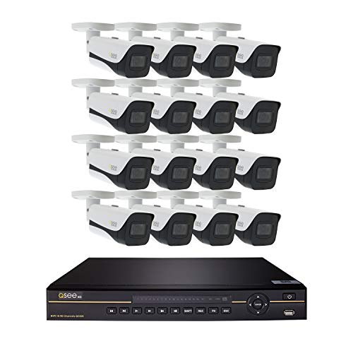 Video Q-see Surveillance - Q-See Home Security System (QC826-16HF-3) 16 Channel 4K Ultra HD NVR with 3TB Hard Drive and (16) 4K Ultra HD Bullet Cameras, Night Vision, Indoor/Outdoor, App