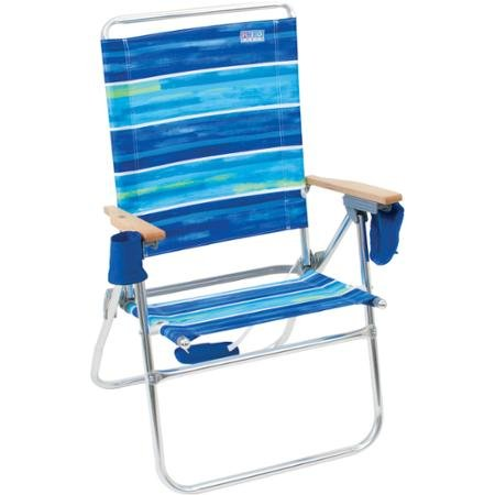 Rio Deluxe Hi-Boy Adjustable To 7 Positions Beach Chair With Lightweight Aluminum Frame, Drink Holder And Cell Phone Pouch