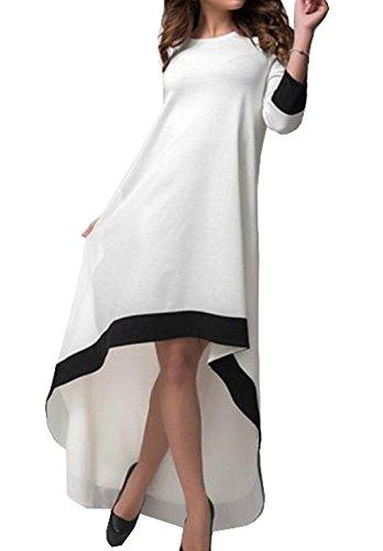 Damen Herbst Unregelmäßige Langarm Maxikleid Loose Rundkragens Zweifarbig Freizeitkleid Vokuhila Kleider Petticoat (EU34(S), Weiß)