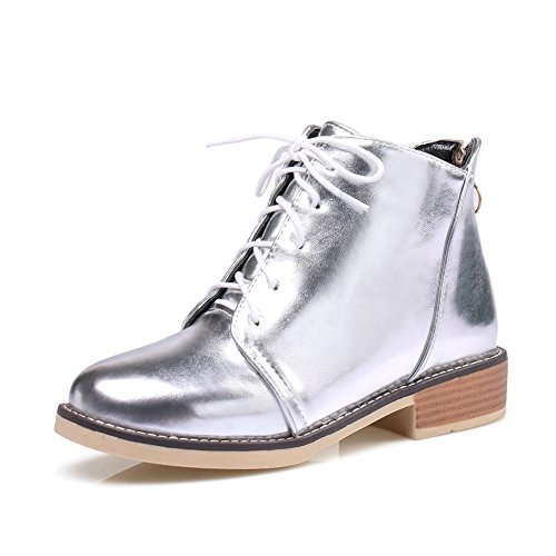 T Fashion Shoes Top Silver Western Toe Heel Shoes Oxfords Women's Low Comfy Round JULY High gZSwqgArx
