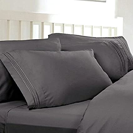 Twin XL Extra Long Sheets: Charcoal Grey, 1800 Thread Count Egyptian Bed  Sheets,