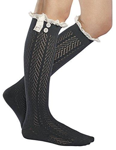 UPC 784672533959, Fiorelle Norah Lacey Knee High Boot Socks, Crochet Lace & Buttons, Girls & Women (Dark Gray)