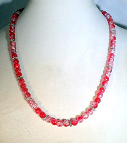Red Crystalline Glass Beaded Necklace (1640)