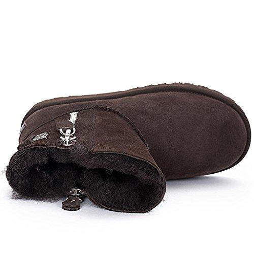 Brown Brown Brown Corto Stivali da Thicker Rotonda Rotonda Rotonda Rotonda da Scarpe con Tubo QIAOShoe Femmina amp;Lartamento al Neve Testa Cerniera Neve Stivali TwEz5q5S