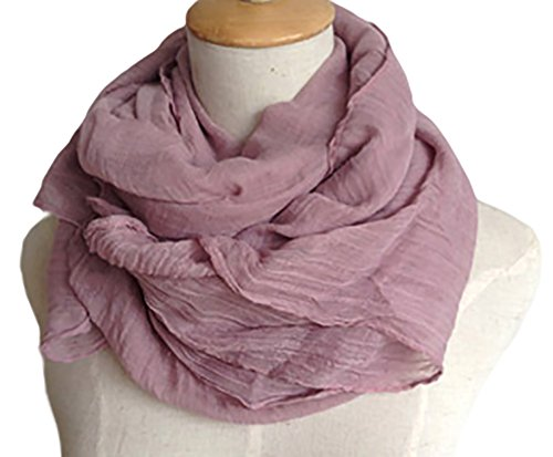 Silk Scarf Purple Label - Spikerking Pure color cotton Hemp Silk scarf travel sunscreen scarf long Big scarves,Violet