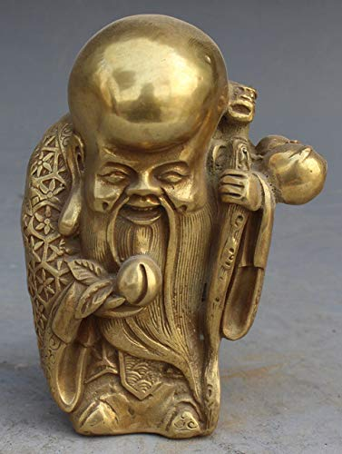 BeesClover Pure Signed Chinese Brass Carved ShouXing Shou Star Gourd Longevity God Peach Statue Garden Decoration Real Brass Bronze Show by BeesClover (Image #1)