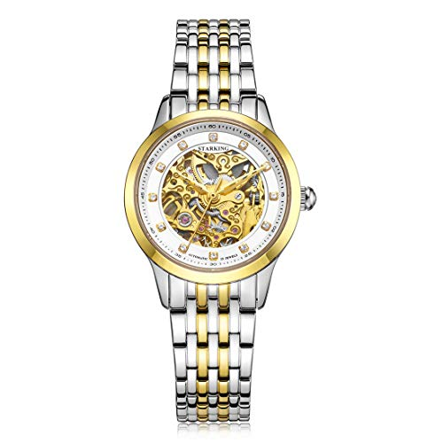 STARKING Women Skeleton Watch Self Winding Automatic Sapphire AL0188 Stainless Steel Diamond Luxury