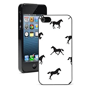 Apple iPhone 4 4S 4G Black 4B479 Hard Back Case Cover Color Horses Pattern