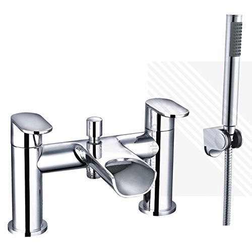 Includes Basin Pop-up Waste and Flexi Tails. Basin /& Bath Filler Tap Pack ECOSPA Mini Mono Square Basin Mixer and Bath Filler Tap with a Polished Mirrored Chrome Finish