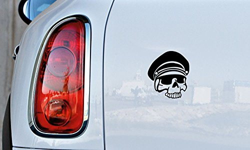 Skull Army Officer Hat Car Vinyl Sticker Decal Bumper Sticker for Auto Cars Trucks Windshield Custom Walls Windows Ipad Macbook Laptop and More (BLACK)