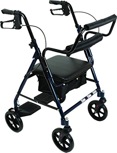 Transport Rollator with Padded Seat, Fold Up Seat, 8 Inch Wheels, Weight Capacity: 250 Pounds (Blue)