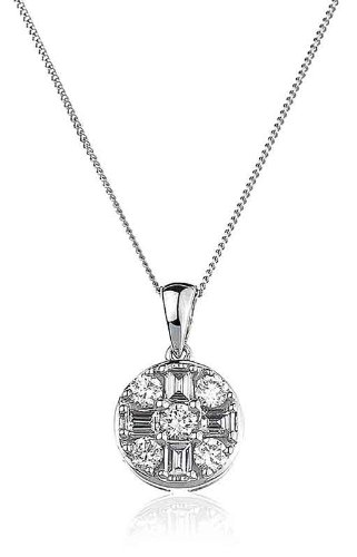 0.50CT Certified G/VS2 Baguette and Round Brilliant Cut Diamond Pendant in 18K White Gold