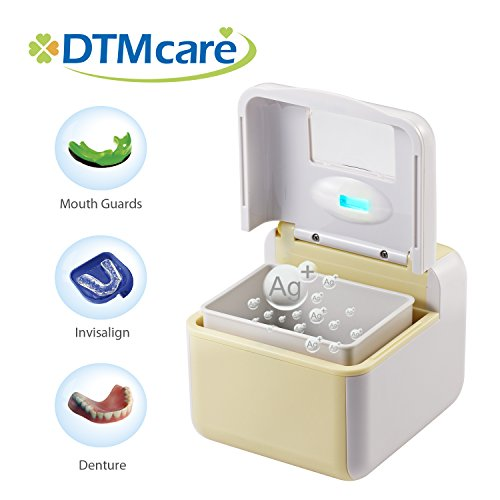DTMCare Dental Cleaner UV Ultrasonic Sterilization for Denture, Toothbrush, Retainer, Invisalign, Mouth Guard and Snore Guard Sleep Retainer. FDA Registered, CE Medical Approved. No Solutions Needed, Just Add Water. ()