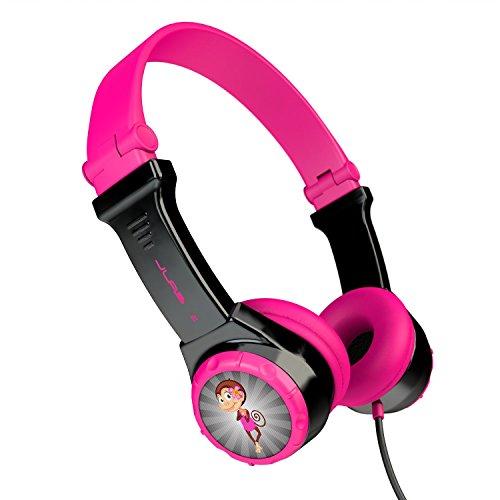 JLab Audio JBuddies Kids- folding, Volume Limiting Headphones, GUARANTEED FOR LIFE - Black/Pink