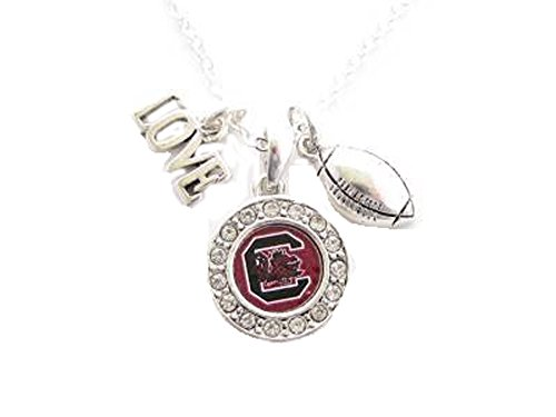 Usc Football Gamecock (South Carolina Gamecocks Multi Charm Love Football Red Silver Necklace Jewelry)