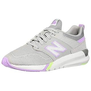 New Balance Women's 009 V1 Sneaker, Grey/Violet Glo/Lime Glo, 7.5 M US