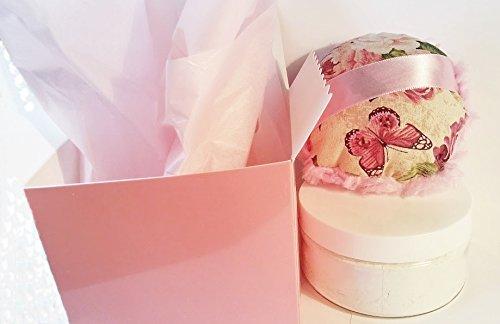 Silk Powder Boxed Gift Set - 8 oz Jar Silk Powder and Rosy Pink Victorian Roses Powder Puff (8 Jar Boxed Ounce)