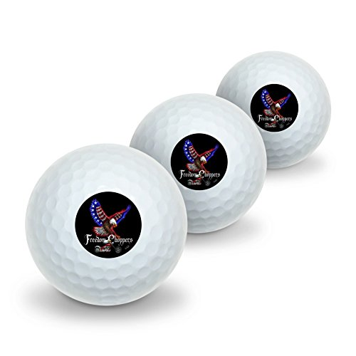 Graphics and More Freedom Choppers Motorcycle Patriotic American Flag Eagle Bike Novelty Golf Balls 3 Pack by Graphics and More