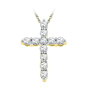 Diamond Pendant 10kt Yellow Gold Cross Religious 1/3 Cttw(I2/i3, i/j)