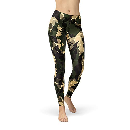 Satori_Stylez Womens Army Green Camo Leggings All Over Print Gold Hexagon Camouflage Patterns