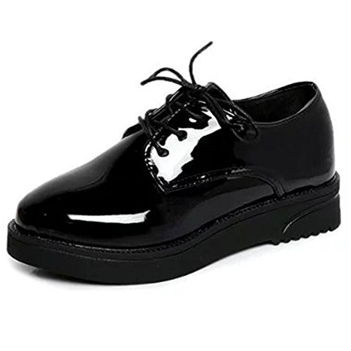 Minivog Kvinna Patent Oxford Loafer Spets-up Brogue Skor Svarta