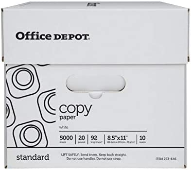 Office Depot White Copy Paper, 8 1/2in. x 11in, 20 Lb, 500 Sheets Per Ream, Case of 10 Reams, 40402786